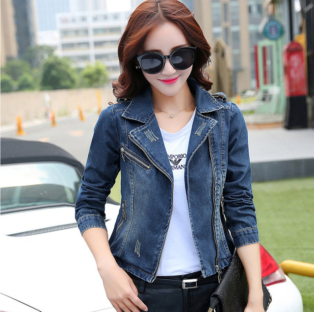 8323a7b7fa0c 2017 Fashion Spring Women Jeans Suit Royal Blue Women s Short Biker Jean  Jacket Turn Down Collar Denim Zipper Blazer Slim-in Blazers from Women s  Clothing   ...