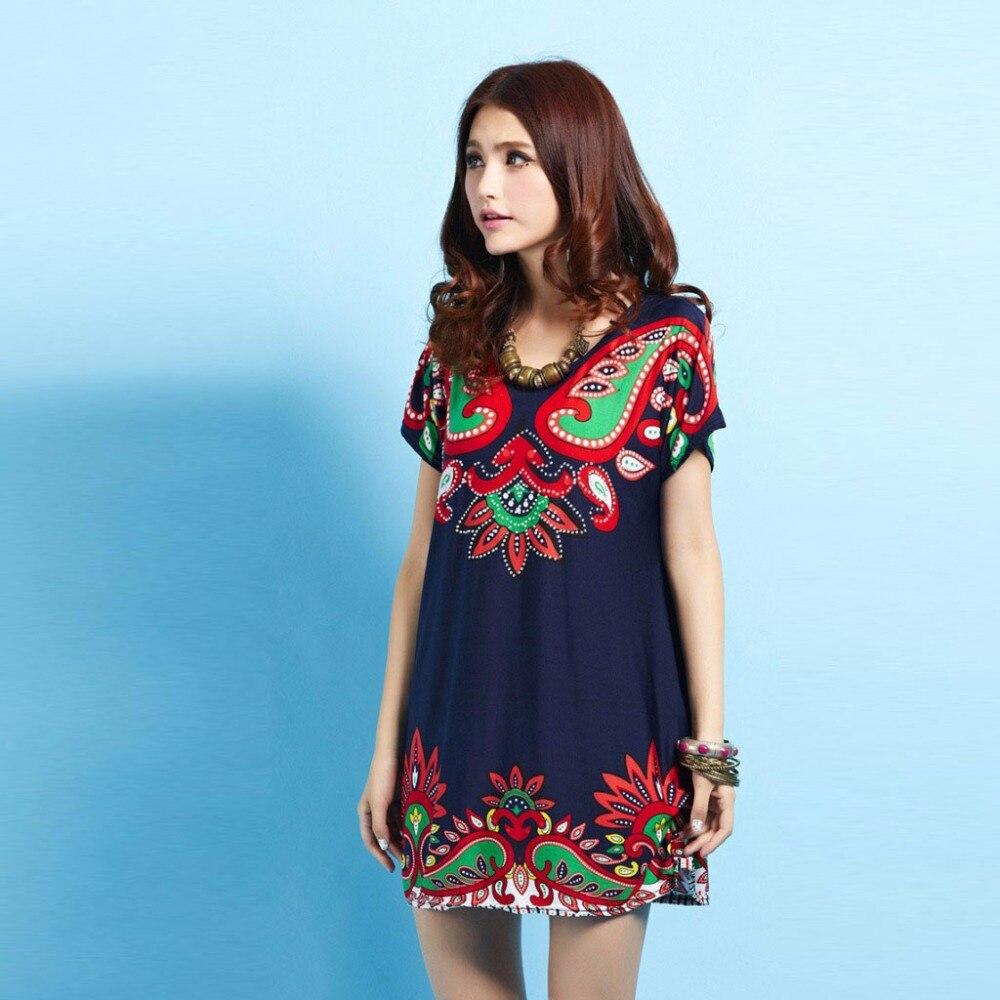 Feierhaosi Summer Short Sleeve Dress O-neck Print Vestidos Full Diamonds Loose Casual Plus Size Dresses For Women