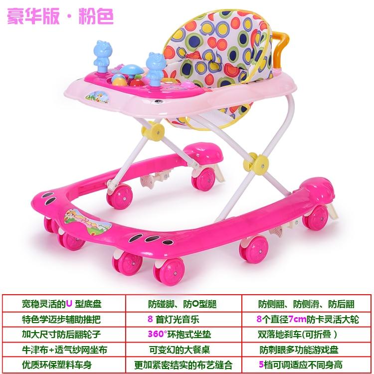 Trotteur pour bébé pour commencer à marcher voiture d'équilibre de bébé, anti-retournement multifonctionnel 6-24 m poussée de main peut asseoir les garçons et les filles se pliants.