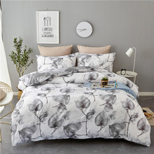 Home textile black and white simple tree leaf bedding three-piece set sanded quilt cover European American style