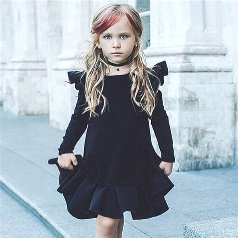 new !!solid sweet baby girls dress fashionable long sleeve cool girl dress for toddler girls conjunto menina 4OT1 (2)