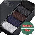 5 pares 2016 de fibra de bambú moda calcetines caja de regalo calcetines de los hombres del verano, verano hombre meia calcetines marca calcetines lot