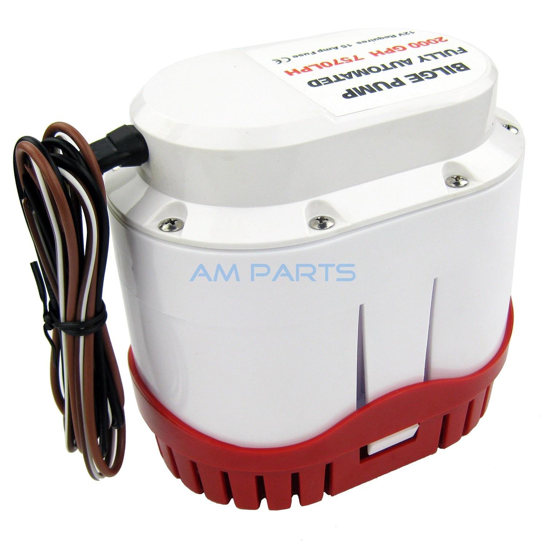 Boat Automatic Bilge Pump 2000 GPH Marine Water Pump 12V Built-in Float Switch
