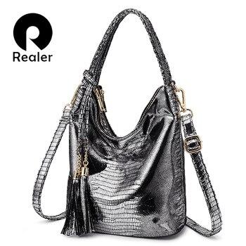 REALER Shoulder bag Brand messenger crossbody bags for women fashion purses and handbags PU animal prints Hobo bag tote female