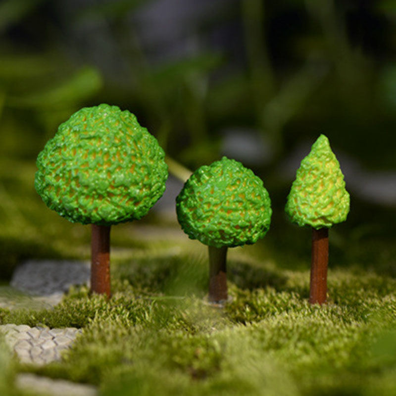 3 Pcs/set Simulation Green Tree Fairy Garden Figurines Miniature Resin Crafts Ornament Cake Keys Decoration Crafts Home Decor