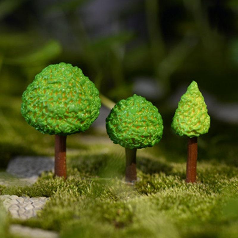 3 Pcs/set Simulation Green Tree Fairy Garden Figurines Miniature Resin Crafts Ornament Cake Keys Decoration Crafts Home Decor
