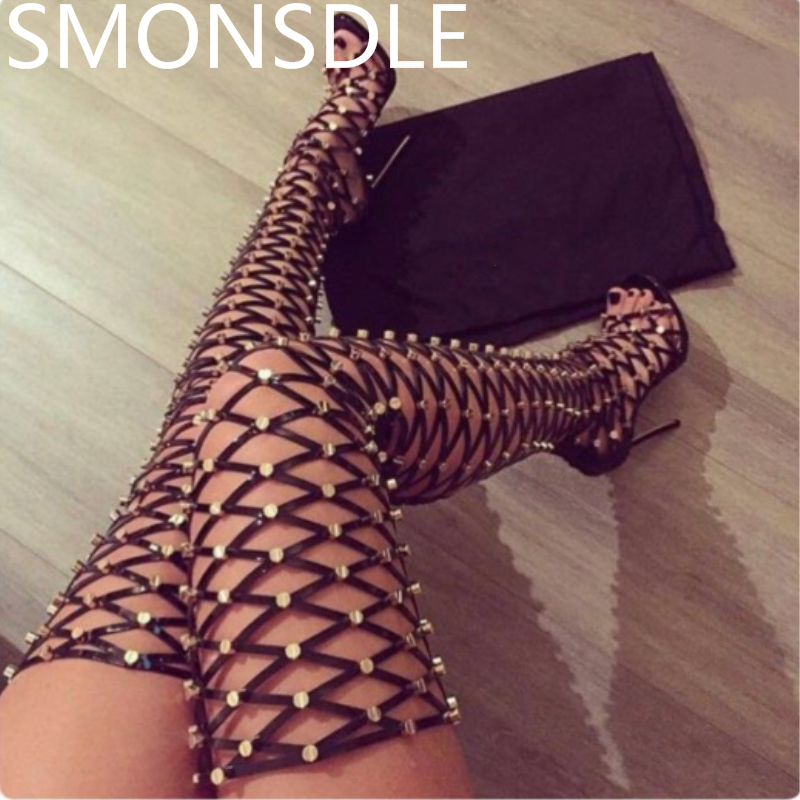 2018 Fashion Women Summer Gladiator Boots Metal Studded Open Toe Lace Up Thin High Heels Ladies Party Shoes Woman Summer Boots loslandifen sexy gladiator women sandals open toe lace up thick high heels shoes ladies summer red bridal party shoes 368a 1pa