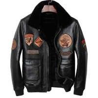 HARLEY DAMSON czarne męskie Pilot skórzana kurtka Plus rozmiar XXXXL Slim Fit rosyjski zima Aviator prawdziwej gruby płaszcz z szelkami