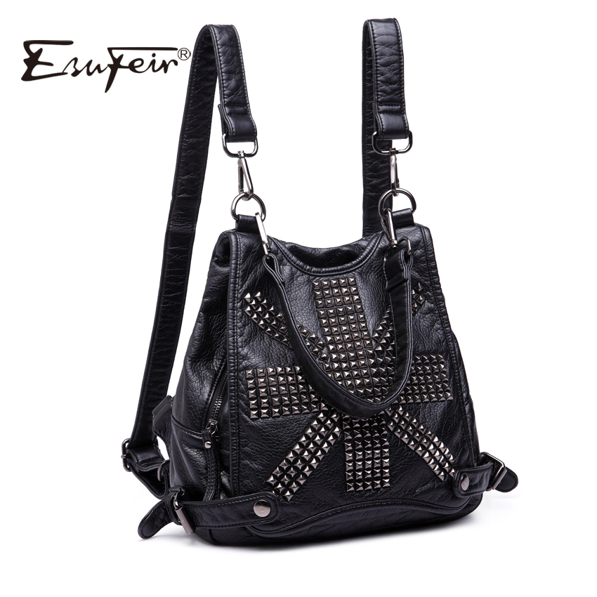 ESUFEIR Brand Soft Washed Leather Backpack Fashion Rivet Design Quality PU Women Backpacks School Bag Casual Daily Backpack стоимость