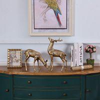 Европейский латунь украшения домашнего интерьера лося для гостиной, мебель для украшения