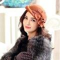 Para mujer invierno Australia lana Vintage Floral para mujer sombreros de fieltro de ala moda francesa Bowler Sombrero Fedora Sombrero de lana B-1325