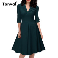 Tonval Ruched Sexy V Neck Vintage Dress Women Rockabilly Female 1950S Audrey Retro Green Swing Dresses