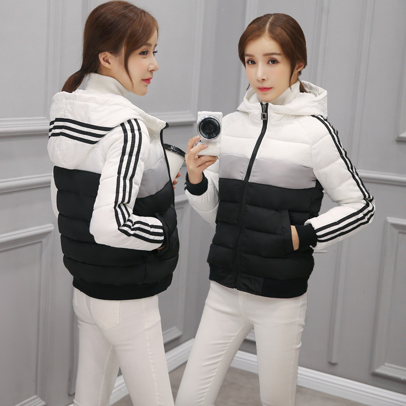 Fashion women autumn winter jacket long sleeve with hood slim stripe parkas casual gradient color style