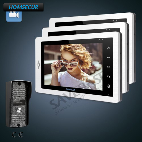 HOMSECUR 7 Wired Video Door Phone Intercom System with One Button Unlock 1C3M ...