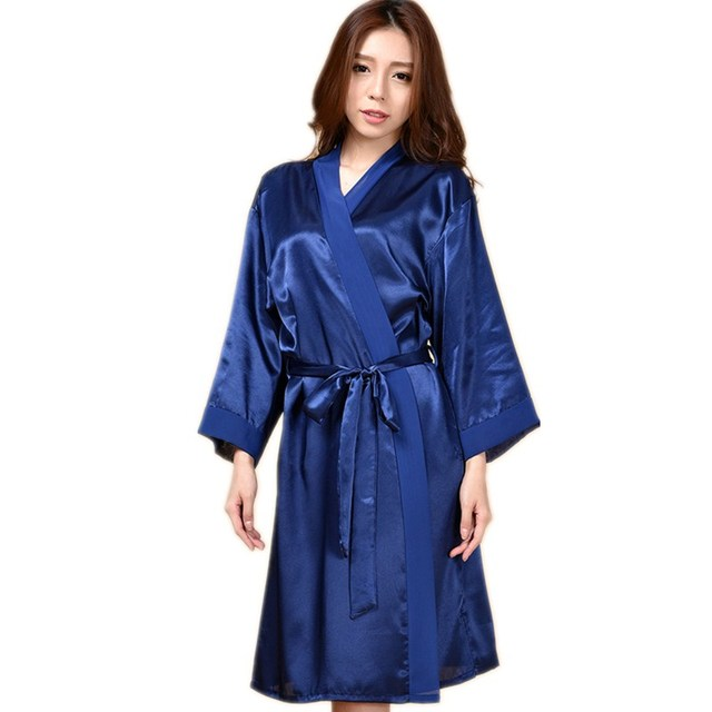 43c65bbe0e7 New Arrival Navy Blue Sexy Women s Rayon Robe Sleepwear Long Kimono Bathrobe  Gown Sexy Nightgown Oversize One Size LK22