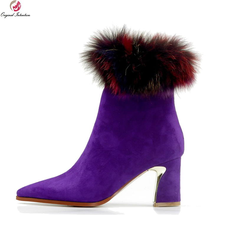 Original Intention New Sexy Women Ankle Boots Kid Suede Gorgeous Fur Pointed Toe Square Heels Boots Shoes Woman US Size 4-8.5 fanyuan women square heel ankle boots woman pointed toe buckle strap shoes mixed color zipper heels shoes woman size 32 42