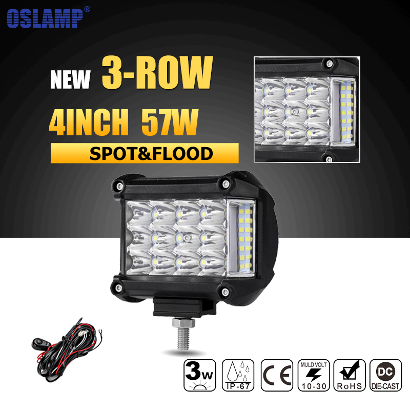 цена на Oslamp 4inch 57W LED Work Light Bar Offroad Spot Flood Beam Led Work Lights 12v 24v Truck SUV ATV 4x4 4WD Led Driving Lamps