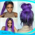 Fashion Ombre Straight Synthetic Lace Front Wig Glueless Long Two Tone Color Black To Purple Heat Resistant Hair Wigs For Women