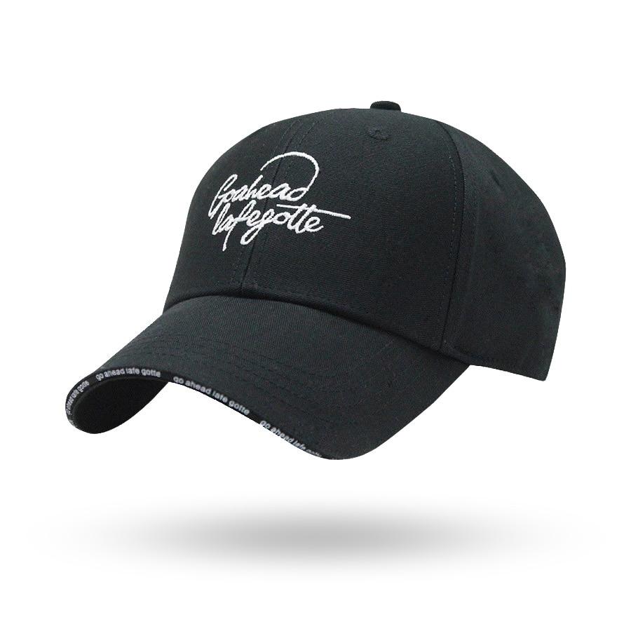Black twill 100% women men summer cap hip hop cap with embroidery cotton strapback baseball letter go ahead bone sun hat truck