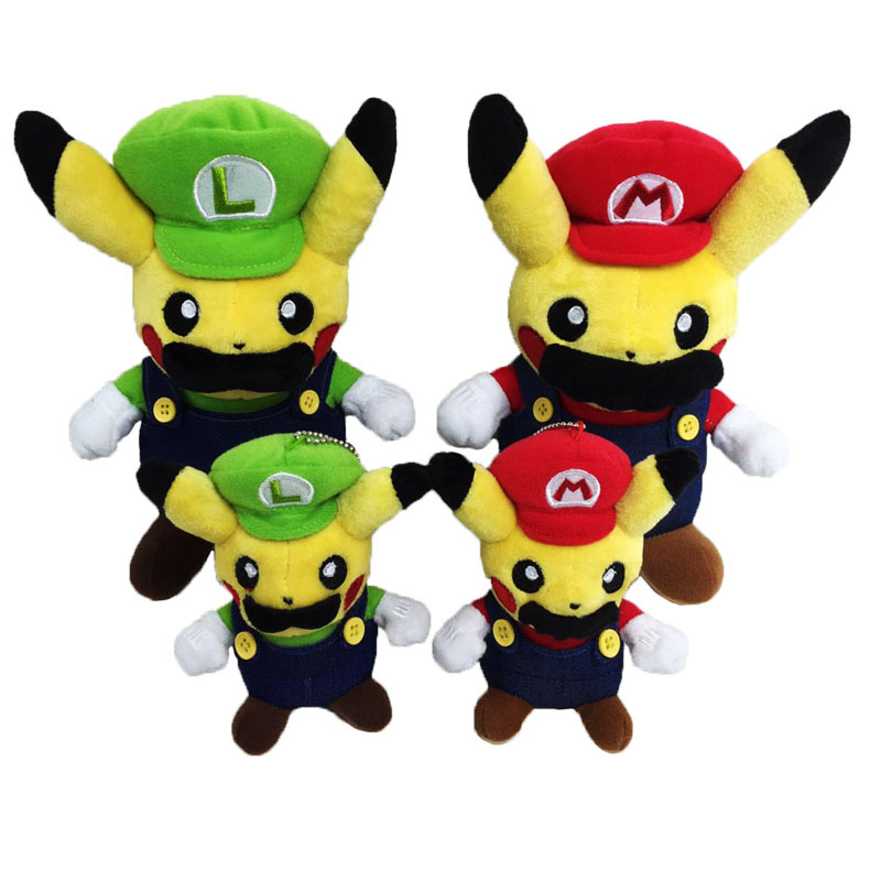 Cartoon Cute Pikachu Cosplay Super Mario Bros Luigi Mario Plush Toys Soft Stuffed Doll Christmas Gift For Children 2 Style 40cm high quality super mario bros mario luigi stuffed plush dolls soft toys gift for children big size 2pcs lot free shipping