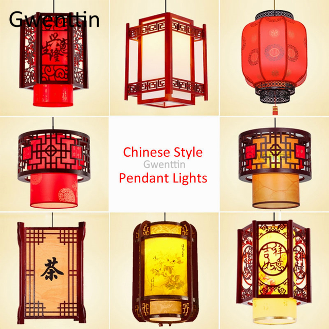 Chinese Style Antique Wood Pendant Lights Sheepskin Lantern Hanging Lamp for Living Room Lighting Fixtures Home Decor Luminaire
