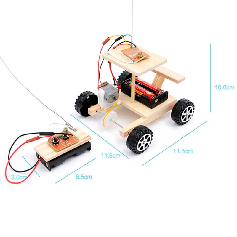 1 pc 나무 diy 무선 원격 제어 레이싱 모델 키트 키즈 물리 과학 실험 장난감 세트 조립 된 자동차 교육 장난감