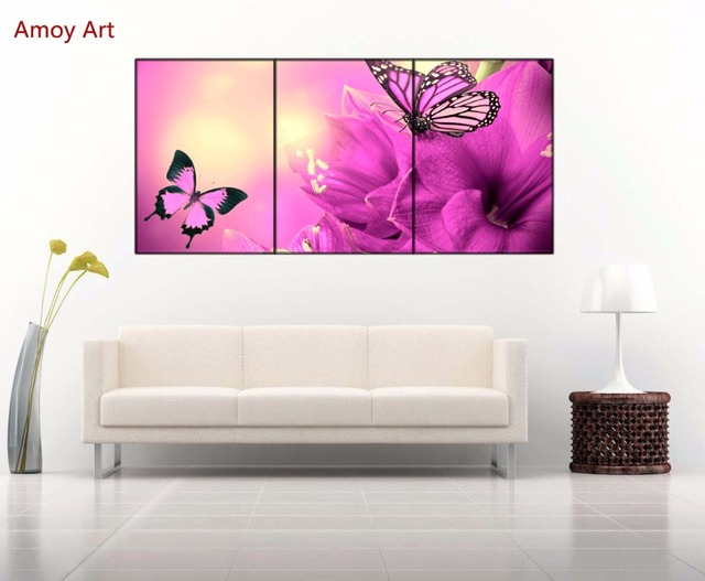 3 Piece purple flowers butterfly Wall Picture for Living Room ...