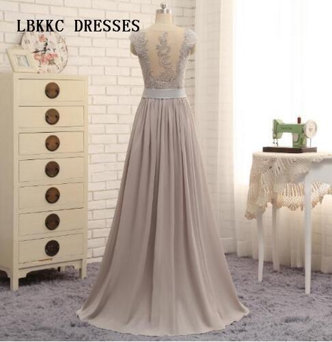Silver Grey Bridesmaid Dresses Long Chiffon Cap Sleeves Sweetheart Vestidos De Festa Vestido Longo Robe De Soiree Party Dress