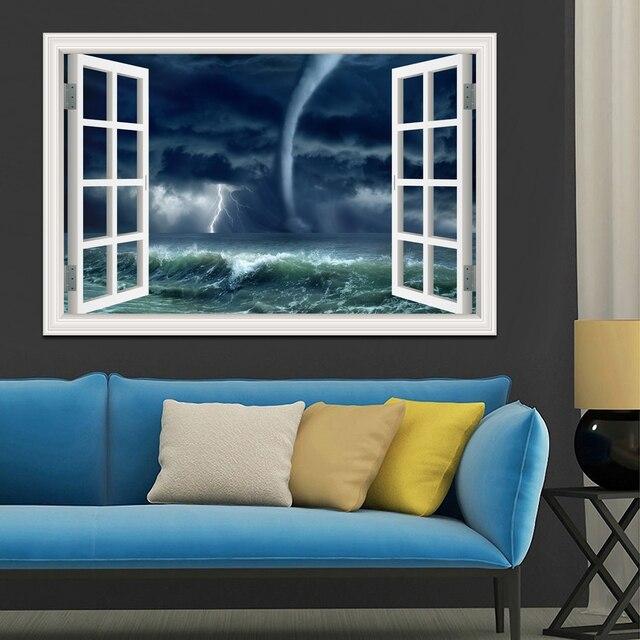 removable 3d wall sticker tornado hurricane 3d window view decals