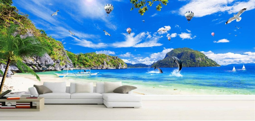 3d stereoscopic Custom 3d wallpapers for living room Blue sky with white clouds and palm trees wall mural wallpaper custom ceiling wallpaper blue sky and white clouds murals for the living room apartment ceiling background wall vinyl wallpaper