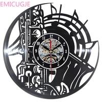 Cute Cartoon Decorative Clock Musical Theme Wall Clock Vinyl Record Record Laser Cut Time Clock