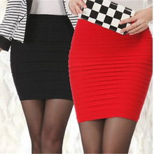 Sexy Ladies Mini Skirt Red Black Blue Pink Soft Cotton Pleated Skirt High Waist Elastic Pencil Skirt Slim Plus Size Jupe Femme(China)