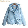autumn winter women warm Sky clouds jacket  Splice hooded jacket cotton padded elegant ladies zipper short loose warm coats hem