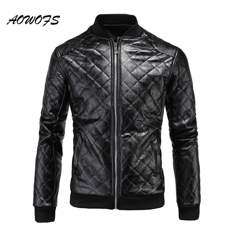 AOWOFS Mens leather <font><b>bomber</b></font> <font><b>jackets</b></font> patchwork 2017 spring autumn biker men <font><b>jacket</b></font> punk motorcycle <font><b>bomber</b></font> men quilted coats D039