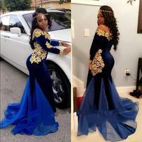 Ярко синий длинный рукав африканские вечерные платья Свадебная Кружевная аппликация вечернее платье марокканский кафтан формальный плать