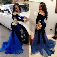 Royal Blue Long Sleeve African Evening Dresses Lace Applique Wedding Evening Gown Moroccan Kaftan Formal Dress Party Dresses