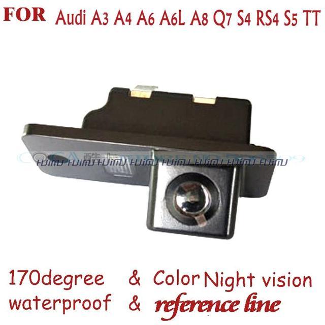 Fio câmeras da placa de licença do carro sem fio câmera de visão Traseira Câmera Reversa para AUDI A3 A4 A5 A6 A6L A8 Q7 S4 RS4 S5 S6 RS6 PAL NTSC