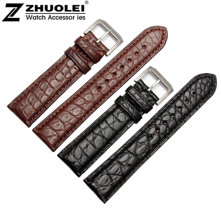 18mm 19mm 20mm 21mm 22mm 24mm Size Available Black/Brown Genuine Alligator Leather Watch Strap Band Writwatch Buckle 18mm 19mm 20mm 21mm 22mm available new high quality black or brown genuine leather watch bands straps free shipping