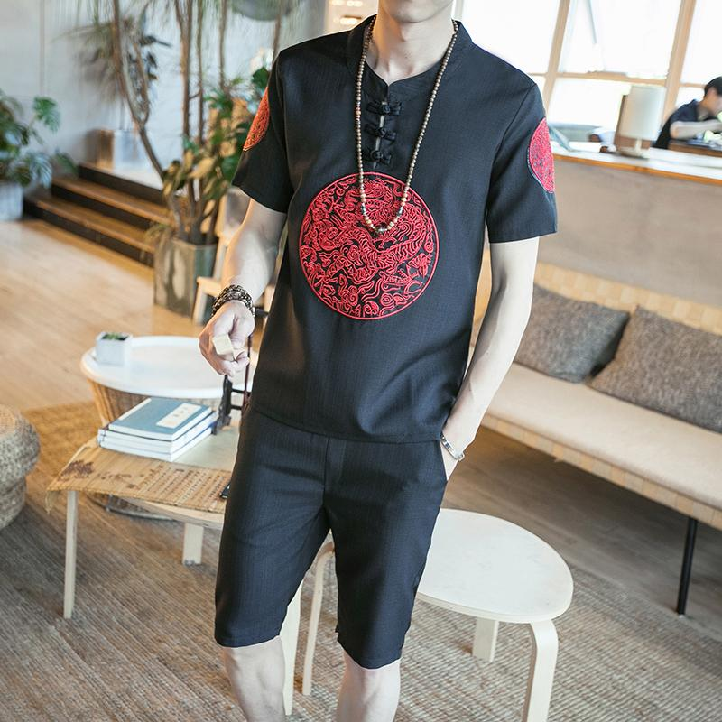 Loldeal Summer Suit Chinese Robes Embroidered Linen Short-Sleeved T-Shirt Shorts Track Suit