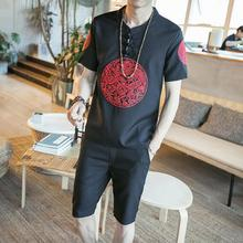 Loldeal Summer Suit Chinese Robes Embroidered Linen Short-sleeved T-shirt Shorts Track