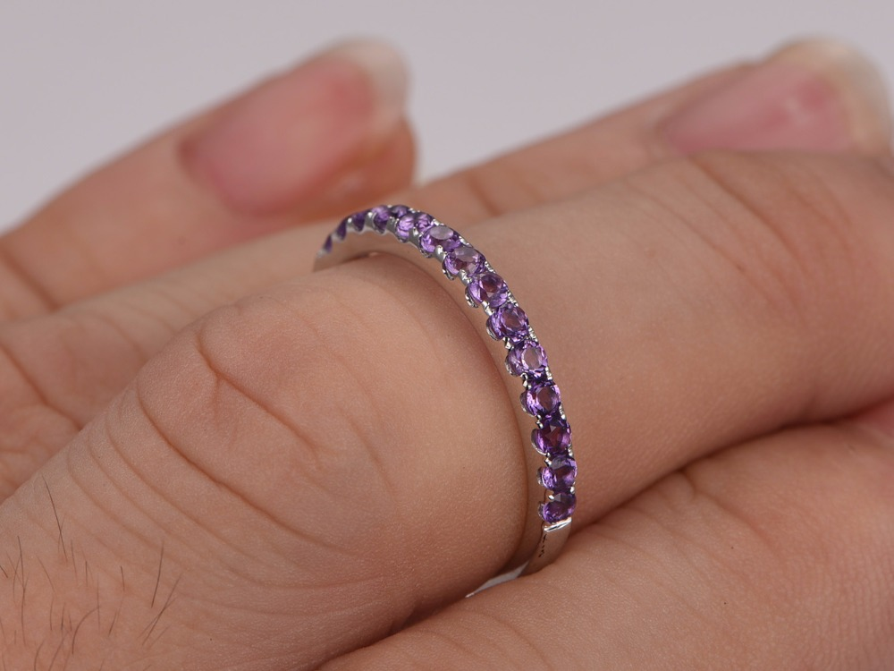 myray 14k white gold wedding band diamond wedding band natural amethyst wedding band pave diamond ring eternity bands in rings from jewelry accessories on - Amethyst Wedding Ring