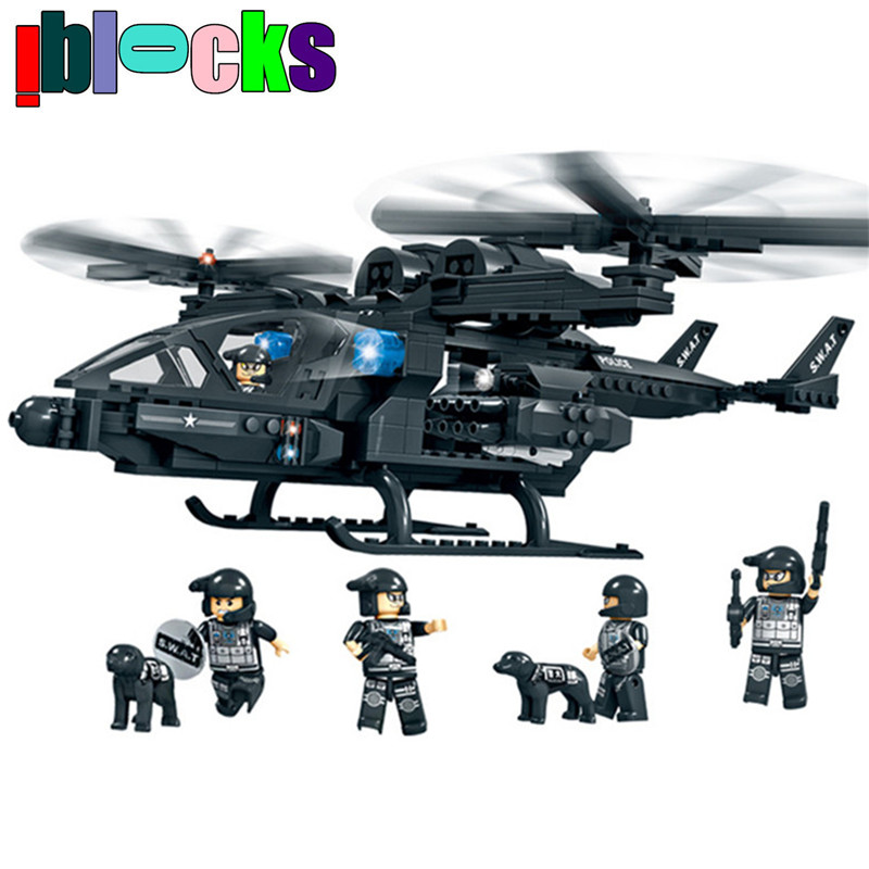 ФОТО IBLOCKS Swat Police Team Heavy Armed Helicopter Models & Building Toys Military Figures Blocks Children Learning Education