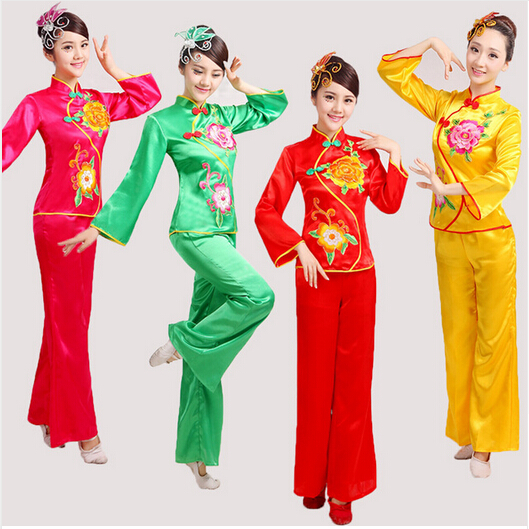 women peony Embroidery yangko dance costumes red\green long sleeves fan waist drum Middle-aged group national square dance