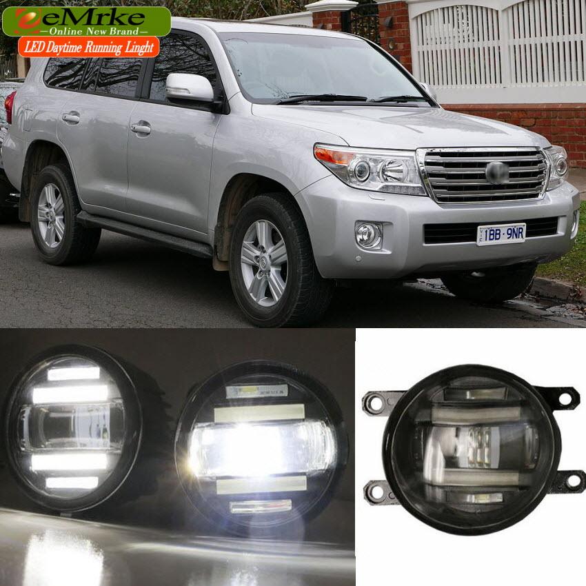 eeMrke Xenon White High Power 2in1 LED DRL Projector Fog Lamp With Lens For Toyota Land Cruiser  UCJ202W VDJ200R VRJ202R