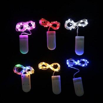 2 м 20 LED серебро Провода Фея гирлянда лампа Гирлянды светодиодные огни Рождество Свадебный дом украшение партии создано CR2032 Батарея