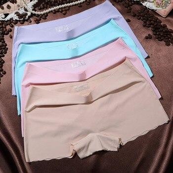 4 unids/lote pantalones cortos de seguridad de mujer Bragas de mujer ropa interior púrpura bragas de comodidad mujer sin costuras pantalones de seguridad