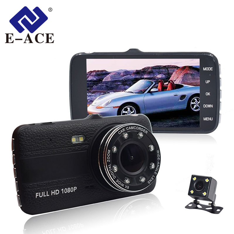 E-ACE Car Dvr With Rearview Camara 4.0 Inch IPS Screen Video Recorder Full HD 1080P Car Registrator 8 Led Lights Auto Dash Cam