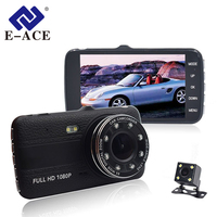 E ACE Car Dvr With Rearview Camara 4.0 Inch IPS Screen Video Recorder Full HD 1080P Car Registrator 8 Led Lights Auto Dash Cam