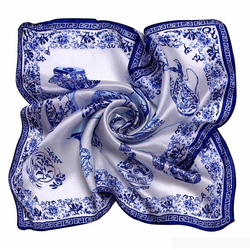 Fashion White 100% Silk Square Scarf Women Bandana Women Kerchief Satin Foulard Joker Summer Neck Scarves 53*53CM 9043
