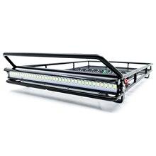 Metalowy dach stojak z/bez oświetlenie dachowe dla 1/10 Traxxas TRX4 ford bronco Wrangler D90 osiowe SCX10 części do zdalnie sterowanego samochodu 234*148mm